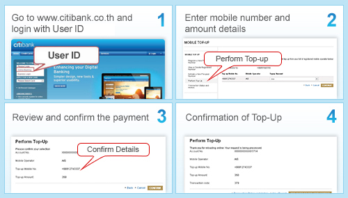 Citibank Thailand - Citibank Online - Mobile Top Up